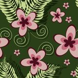 Seamless tropical pattern with plumeria and fern vector illustration
