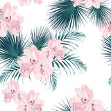 Seamless tropical vector pattern with paradise pink rhododendron flowers and exotic palm leaves on white background. Royalty Free Illustration