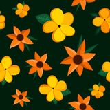 Seamless pattern with exotic flowers stock illustration