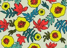 seamless tropiskt för modell Tropiska växter och blommor i korall-, kricka- och neongulingfärger vektor för detaljerad teckning f vektor illustrationer