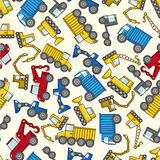 Seamless truck pattern. Drawing Royalty Free Stock Images