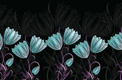 Seamless tulip floral border vector illustration