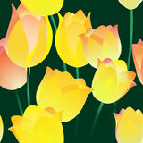 Seamless tulips pattern. Seamless abstract pattern with tulips drawn with using gradients Stock Photo