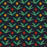 Seamless tulips pattern. Seamless pattern with red and yellow tulips Stock Photo