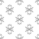 Seamless tulips pattern. Tulip black  eps-10. Vector Royalty Free Stock Image