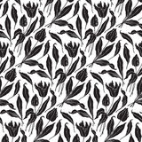 Seamless tulips pattern (vector) Royalty Free Stock Images