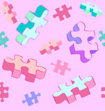 Seamless tumbling puzzle autism pattern. Seamless vector swatch of colorful and fun Autism puzzle pieces. No radial gradients, no 3D effects, easy to edit Stock Photography