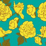 Seamless turquoise background with hand drawn yellow roses. Abstract vintage background with floral retro element. Vector illustration vector illustration