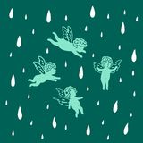 Angels fly in the sky in the rain royalty free illustration