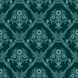 Seamless turquoise damask Wallpaper with bouquet of Flowers. Royalty Free Stock Photos