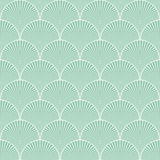 Seamless turquoise japanese art deco floral waves pattern vector Royalty Free Stock Images