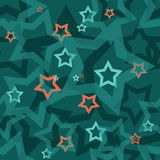 Seamless turquoise pattern with stars Royalty Free Stock Image