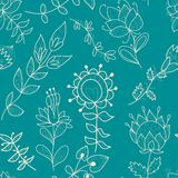 Seamless turquoise texture with contour flower Royalty Free Stock Photography