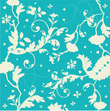 Seamless turquoise texture with flowers and hearts Royalty Free Stock Photography