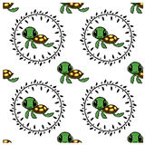 Seamless turtle cartoon pattern Stock Image