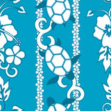 Seamless Turtle Pattern. Wuth curls and flowers Stock Photo