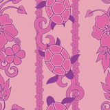 Seamless Turtle Pattern. Wuth curls and flowers, pink version Stock Image