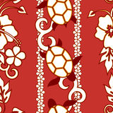 Seamless Turtle Pattern. Wuth curls and flowers, red version Stock Photos