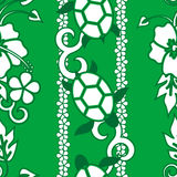 Seamless Turtle Pattern. Wuth curls and flowers, green version Stock Images