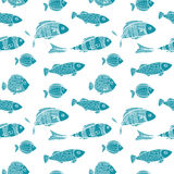 Seamless two color pattern. Blue silhouettes of. Fishes on a white background. Vector Stock Photography