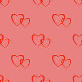 Seamless Two Hearts Pattern Royalty Free Stock Photo