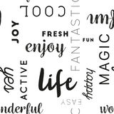 Seamless Type Pattern Life Black Stock Photo