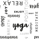 Seamless Type Pattern Yoga Black Royalty Free Stock Photography