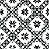Seamless Ukrainian or Belarusian folk art embroidery black pattern Stock Photography