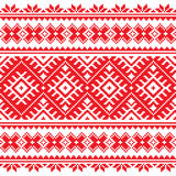 Seamless Ukrainian folk red embroidery pattern Stock Photo