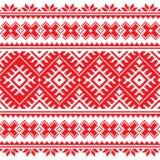 Seamless Ukrainian folk red embroidery pattern Stock Photo