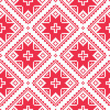Seamless Ukrainian, Slavic folk art red embroidery pattern Royalty Free Stock Photos
