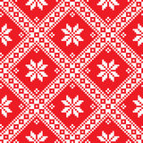 Seamless Ukrainian Slavic folk art red embroidery pattern Royalty Free Stock Image