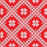 Seamless Ukrainian Slavic folk art red embroidery pattern Royalty Free Stock Image