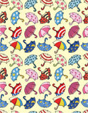 Seamless umbrella pattern Stock Photos