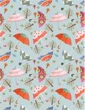 Seamless Umbrellas Pattern Royalty Free Stock Photography
