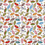 Seamless Umbrellas pattern. Vector drawing Stock Photography