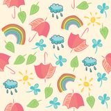 Seamless with umbrellas, rainbow, clouds and leave Stock Photos