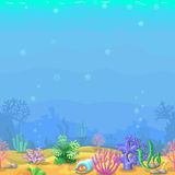 Seamless underwater landscape in cartoon style. Stock Photo