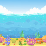 Seamless underwater landscape in cartoon style. fish and coral. Vector illustration. For game design Stock Images