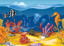 Seamless underwater landscape in cartoon style. Vector illustration Stock Photo