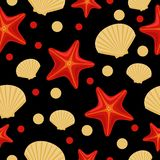 Seamless underwater sea pattern with starfish and shell. Abstract repeat background, colorful vector illustration can be used as vector illustration