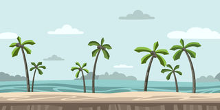 Seamless unending background for arcade game. Sandy beach with palm trees and clouds in the blue sky. Vector royalty free illustration
