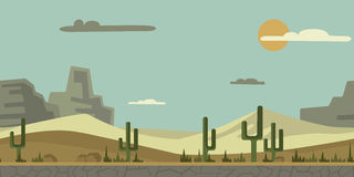 Seamless unending background for game or animation. Desert landscape with cactus, stones and mountains in the background. Seamless unending background for arcade Royalty Free Stock Image