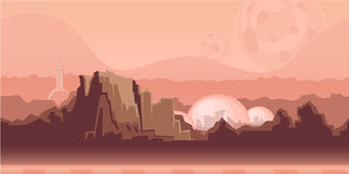 Seamless unending background for game or animation. Surface of the planet Mars with mountains, space settlement and Stock Photo