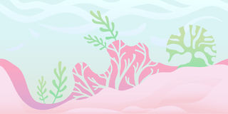 Seamless unending background for game or animation. Underwater world with seaweed and coral. Vector illustration stock illustration
