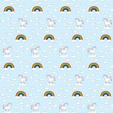 Seamless unicorns and rainbows pattern Royalty Free Stock Images