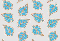 Seamless unique decorative bold leaves pattern royalty free illustration