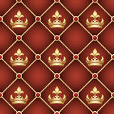 Seamless upholstery pattern. With golden crowns drawn with using gradients Royalty Free Stock Photo