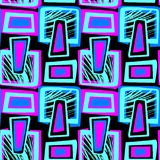 Seamless urban funky textile pattern. Seamless urban funky geometric pattern.Trendy print with acrylic blots and scratches.Textile ink brush strokes design in Stock Photography