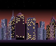 Seamless urban landscape with skyscrapers in night Royalty Free Stock Photos